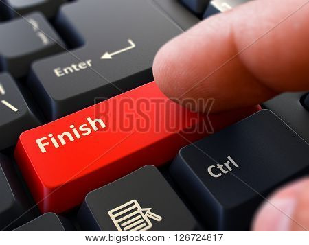 Computer User Presses Red Button Finish on Black Keyboard. Closeup View. Blurred Background. 3D Render.
