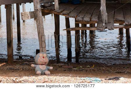 Children's toy in front of stilt house at Sea Gypsy Village