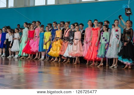 Minsk Belarus -April 3 2016: Dance couples prior to the IDSA Championship Kinezis Star Cup - 2016 start-off in April 3 2016 in Minsk Republic of Belarus