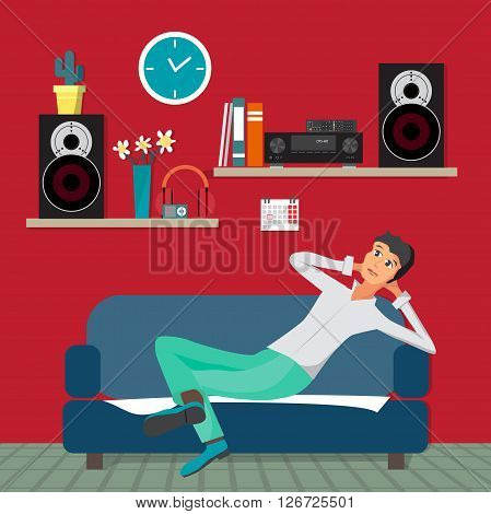 Home sound system in interior room. Home music flat vector illustration. Loudspeakers, player, receiver for home music lover in the apartment. Great place to relax on the sofa