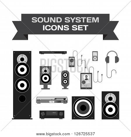 Home sound system. Home stereo flat vector set icons for music lovers. Loudspeakers, player, receiver, subwoofer, computer, remote, vinyl, smartphone, tablet, headphones icons for listening to music