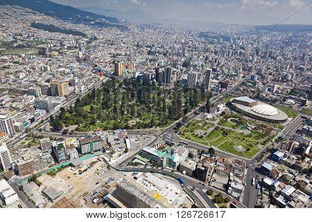 Aerial view of north central Quito area, the park El Ejido park El Arbolito and Casa de la Cultura Ecuatoriana