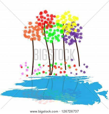 Colorful abstract dandelions. Vector illustration EPS 10
