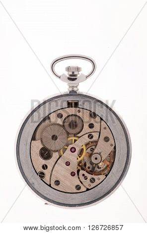 The interior of the pocket clock mechanism