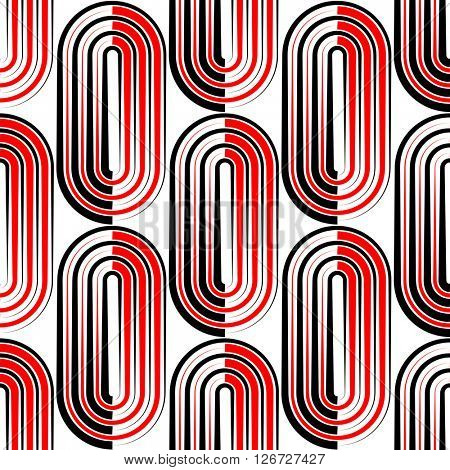 Seamless Vertical Stripe and Ellipse Pattern. Vector Black and Red Background