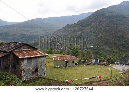 view of village in trekking route Pokhara Nepal