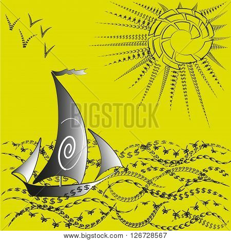 Illustration a ship and the world of finance