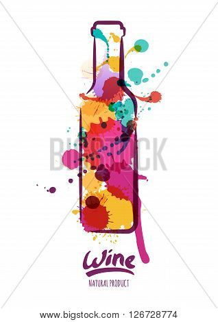 Vector Watercolor Illustration Of Colorful Wine Bottle And Hand Drawn Lettering.