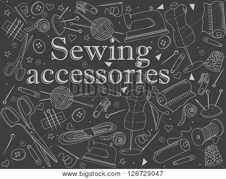 Sewing accessories chalk line art design vector illustration. Implement separate objects. Hand drawn doodle design elements.