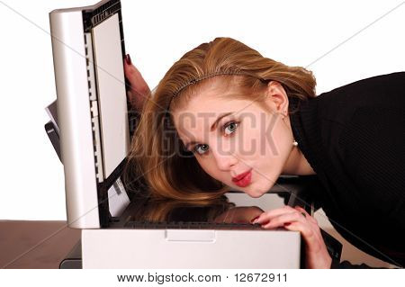 Girl with scanner photocopier
