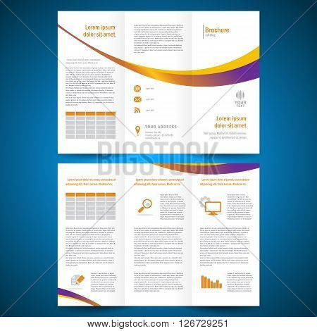 brochure folder leaflet color yellow line white background
