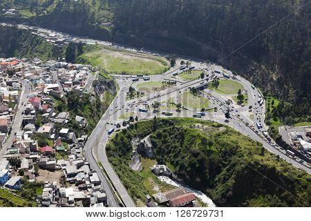 Aerial view exchanger El Trebol in Quito