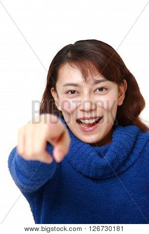 Asian woman discover something on white background