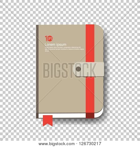brown notebook illustration. eps10 vector