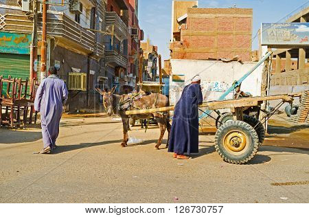EDFU EGYPT - OCTOBER 7 2014: The cart with a donkey in a slum street on October 7 in Edfu.