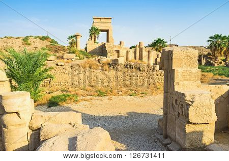 The ruins of the Eastern Temple of Ramesses II and preserved Nectanebo Portal Karnak Temple Luxor Egypt.