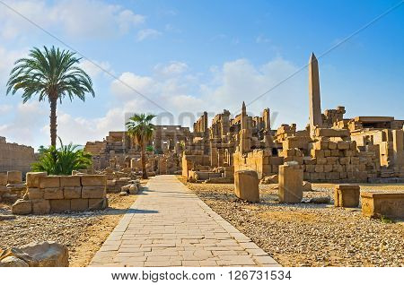 The stone ruins of Karnak Temple remember the great times of ancient Egypt Luxor.