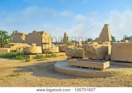 LUXOR EGYPT - OCTOBER 7 2014: The ruins of pylons of the secondary north-south axis of Karnak Temple  on October 7 in Luxor.