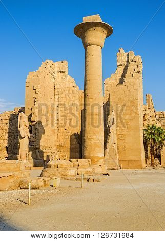 LUXOR EGYPT - OCTOBER 7 2014: The giant column in front of the Second Pylon of Ramesses II in Karnak Temple on October 7 in Luxor.