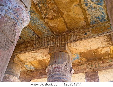 LUXOR EGYPT - OCTOBER 7 2014: The ceiling inFestival Temple of Thutmose III decorated with the painting depicting the night sky with stars on October 7 in Luxor.