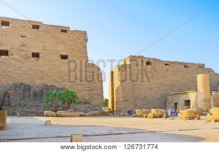 LUXOR EGYPT - OCTOBER 7 2014: The first courtyard of the Karnak Temple with the view on the ruins of First Pylon on October 7 in Luxor.
