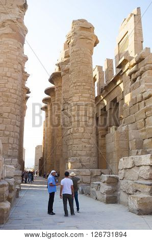 LUXOR EGYPT - OCTOBER 7 2014: The large archaeological site of Karnak Temple is the best place to enjoy ancient architecture and art on October 7 in Luxor.