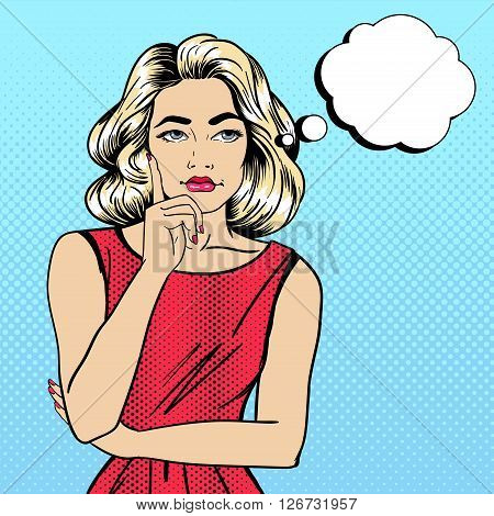 Pop Art Woman Thinking about Something. Vector illustration