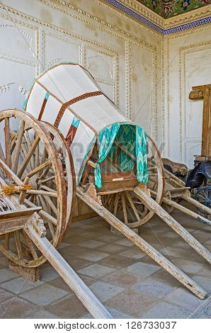 KOKAND UZBEKISTAN - MAY 6 2015: The Khan's carriage in the courtyard of Khudayar Khan Palace on May 6 in Kokand.