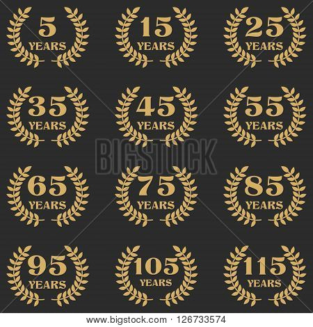 5-115 anniversary label with laurel wreath. Celebration and congratulation design template. Vector congratulation design template.