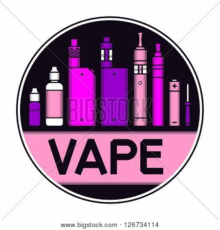 Vector illustration of vape and accessories. Vape icons set isolated on black background for vape shop and vape service, e-cigarette store