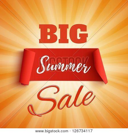 Big summer sale poster on orange background with light rays. Big summer sale brochure. Big summer sale banner. Vector illustration.