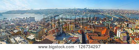 The Galata Tower is the perfect place to watch the city and its landmarks on the fresh air from the top Istanbul Turkey.