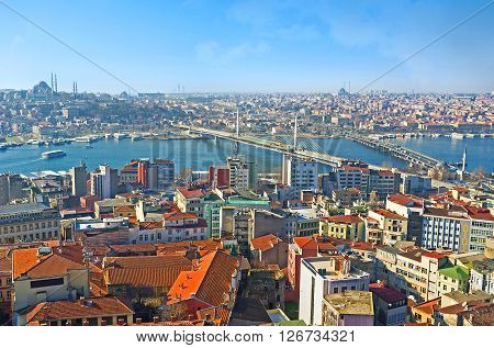 The housing of the central districts of Istanbul as it seen from the Galata Tower Turkey.