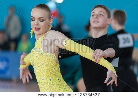Minsk Belarus -April 3 2016: Mironovich Maksim and Akulich Anastasiya Perform Youth Latin-American Program on IDSA Championship Kinezis Star Cup - 2016 in April 3 2016 Minsk Republic of Belarus