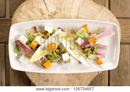 Red, chicory, squash & goat's cheese salad
