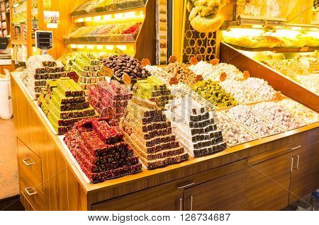 The Turkish delight or rahat lokum is the popular dessert in the Middle Eastern countries Istanbul Turkey.