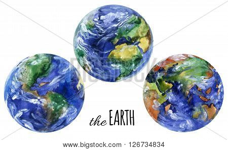 Watercolor planet earth views. Americas europe and asia views. Hand painted planet set for the Earth day design. Watercolor earth planet views illustration isolated on white background