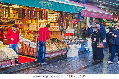ISTANBUL TURKEY - JANUARY 21 2015: The Egyptian Bazaar is the popular tourist attraction in the city center on January 21 in Istanbul.