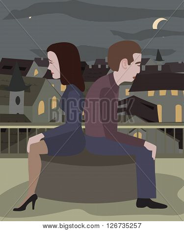 couple at loggerheads - man and women sitting on roof at night city landscape in a bad mood