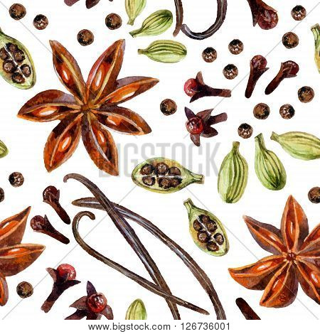 Watercolor seamless pattern with star anise allspice vanilla cloves and cardamon hand painted illustration on white background