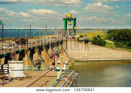 Hydroelectric power station, the river Dnepr, Ukraine, Dneprodzerzhinsk