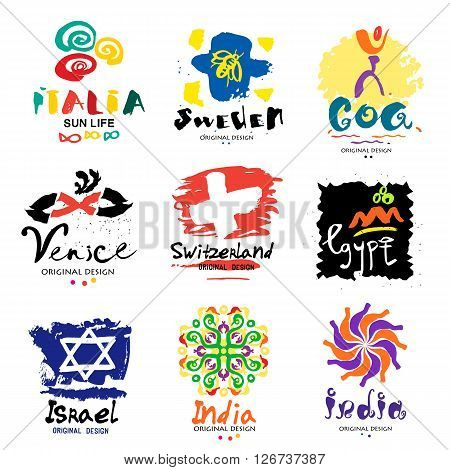 Logos in different countries. A trip around the world. Eastern and Western countries signs and symbols. Design elements of the States and regions of the world