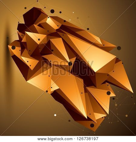 Complicated Abstract Golden 3D Shape, Vector Digital Lattice Object. Technology Theme.