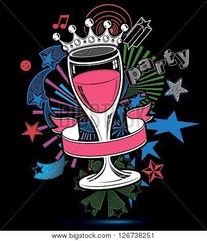 Joyful holiday background with stylized 3d monarch crown placed over glass goblet. Celebration and party theme poster with beautiful stars and bright rays. Design elements can be used separately.