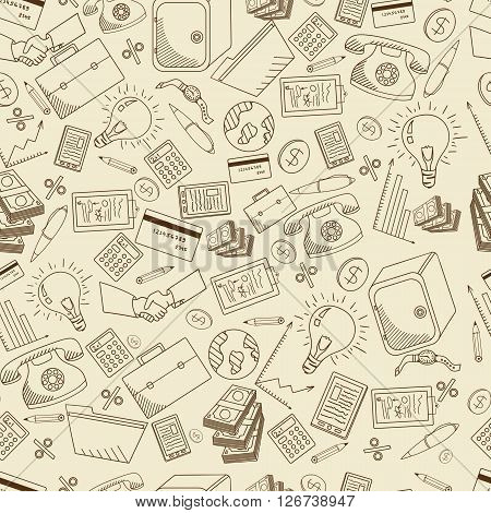 Business seamless retro line art design vector illustration. Separate objects. Hand drawn doodle design elements.