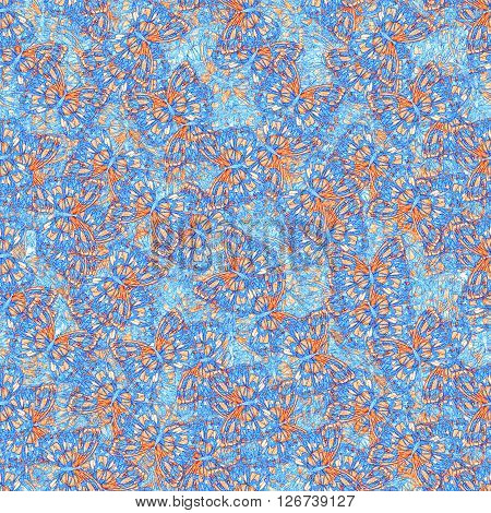 Sketch butterfly seamless pattern for beautiful design