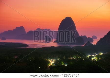 Beautiful sunrise landscape with many island at Phang nga province, Thailand.