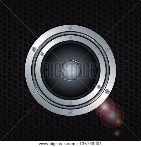 Loudspeaker with Double Ring and Screws Over Metallic Honeycomb Black Background with Lens Flares. 3D