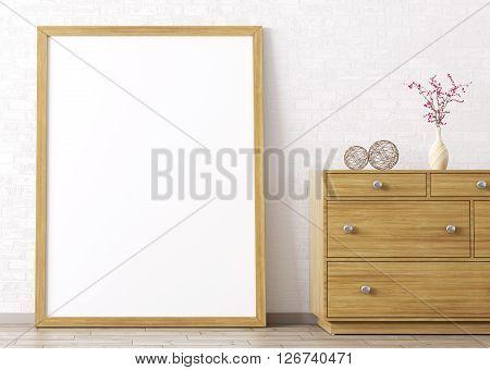 Wooden Frame And Dresser Interior Background 3D Rendering