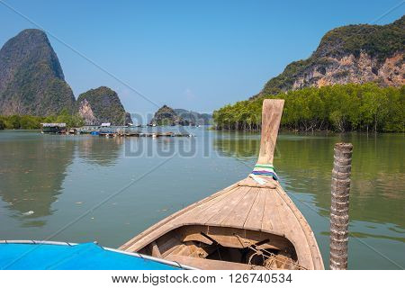 Longtail boat in Phang Nga, port, Port and Islands travel.